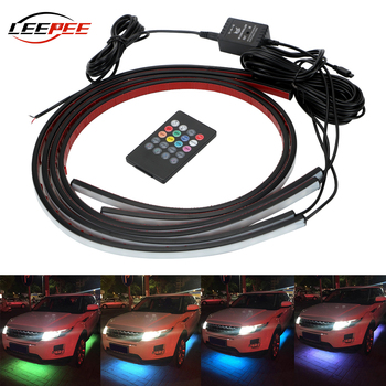 LEEPEE Car Bottom Atmosphere Lamp Universal Auto LED Decorative Strip Neon Light Music Active Sound Control Underbody 4x8 Colors - discount item  25% OFF Car Lights