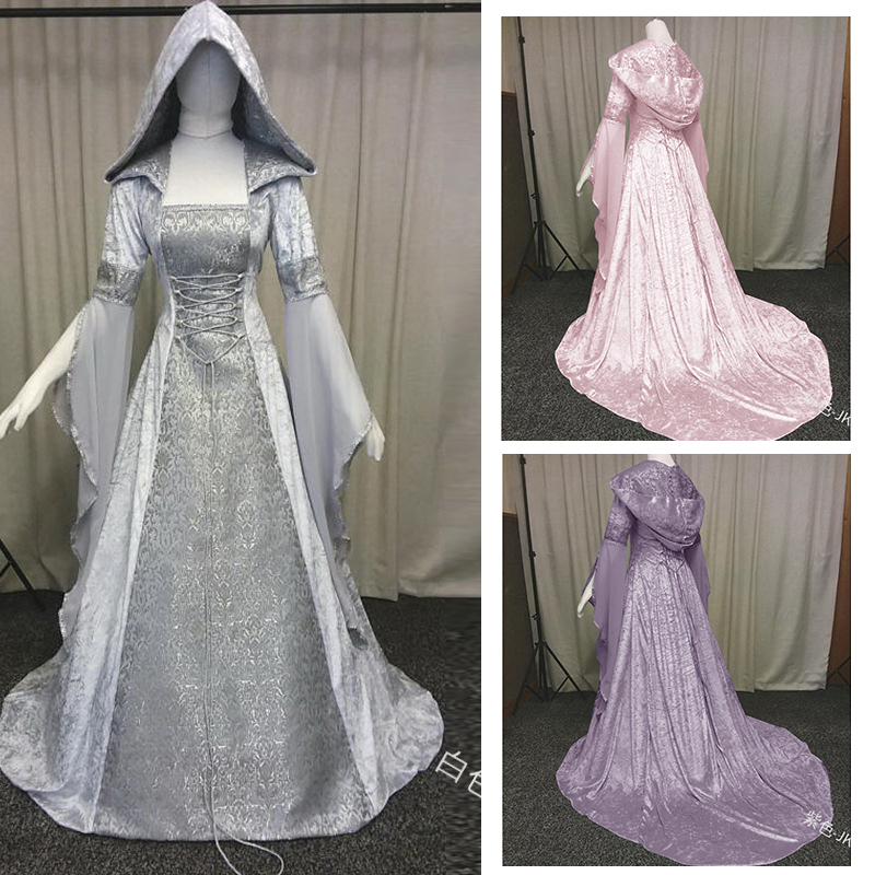 New Hot Renaissance Medieval Costume Adult Fitted Bodice And Dress Halloween Carnival Cosplay Costumes For Women Witch Dress