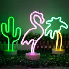 USB/Battery Neon Bulbs Tube Neon Light LED Flamingo Unicorn Sign Lamp Home Desk Table Christmas Wedding Decor Led Lamp Kids Gift(China)
