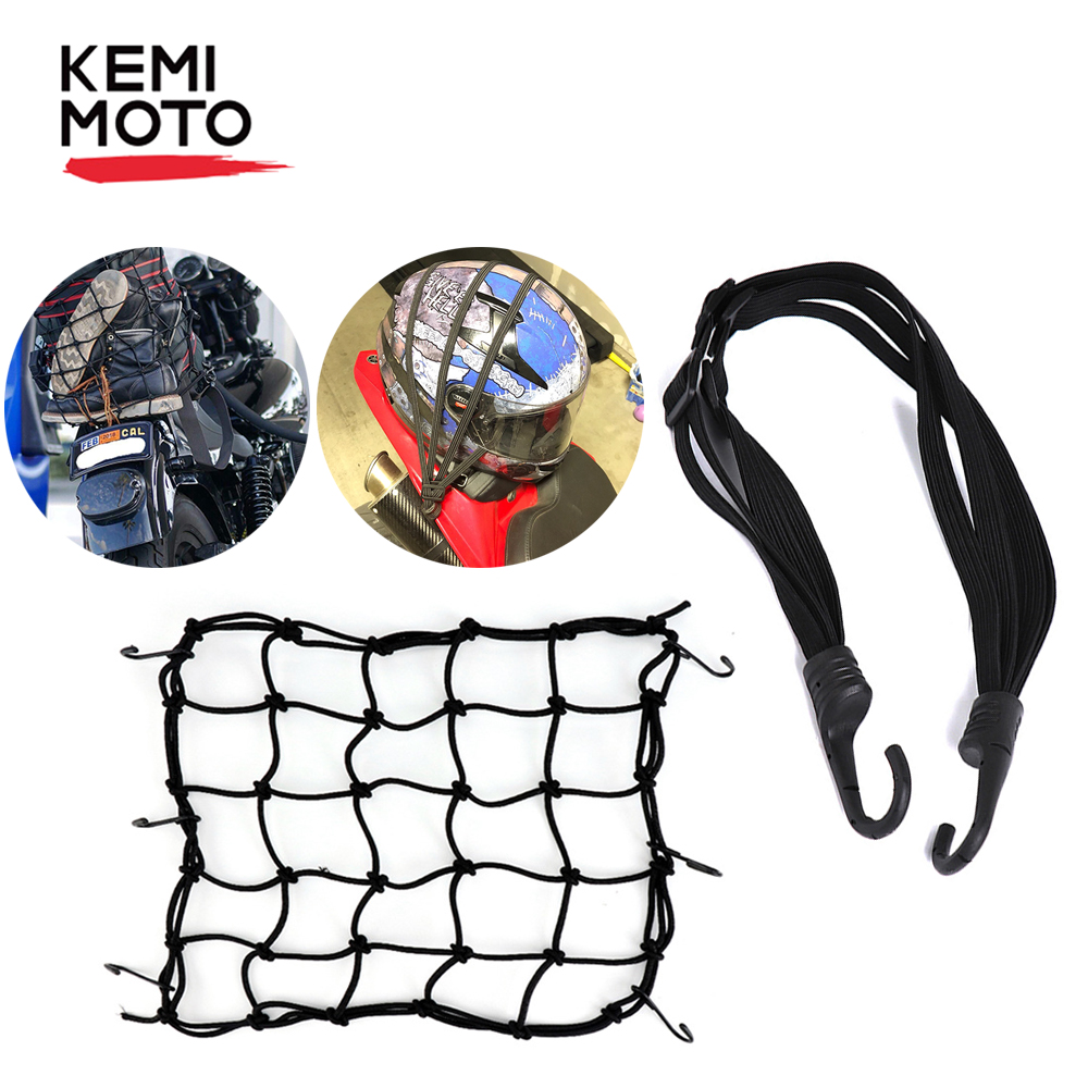 KEMiMOTO Motorcycle Luggage Net + Helmet Luggage Elastic Rope Strap Reflective Elastic 60cm 36cm X 36cm Motorcycle Accessories