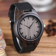 Wood Watch Movement-Quartz Bobo Bird Men's Relogio Japan Erkek Ebony Timepieces Saati