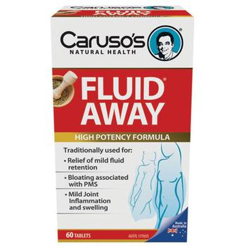 Carusos Health Fluid Away Support Kidney Liver Function Reduce Fluid Water Retention Bloating Joint Pain Premenstrual Syndrome