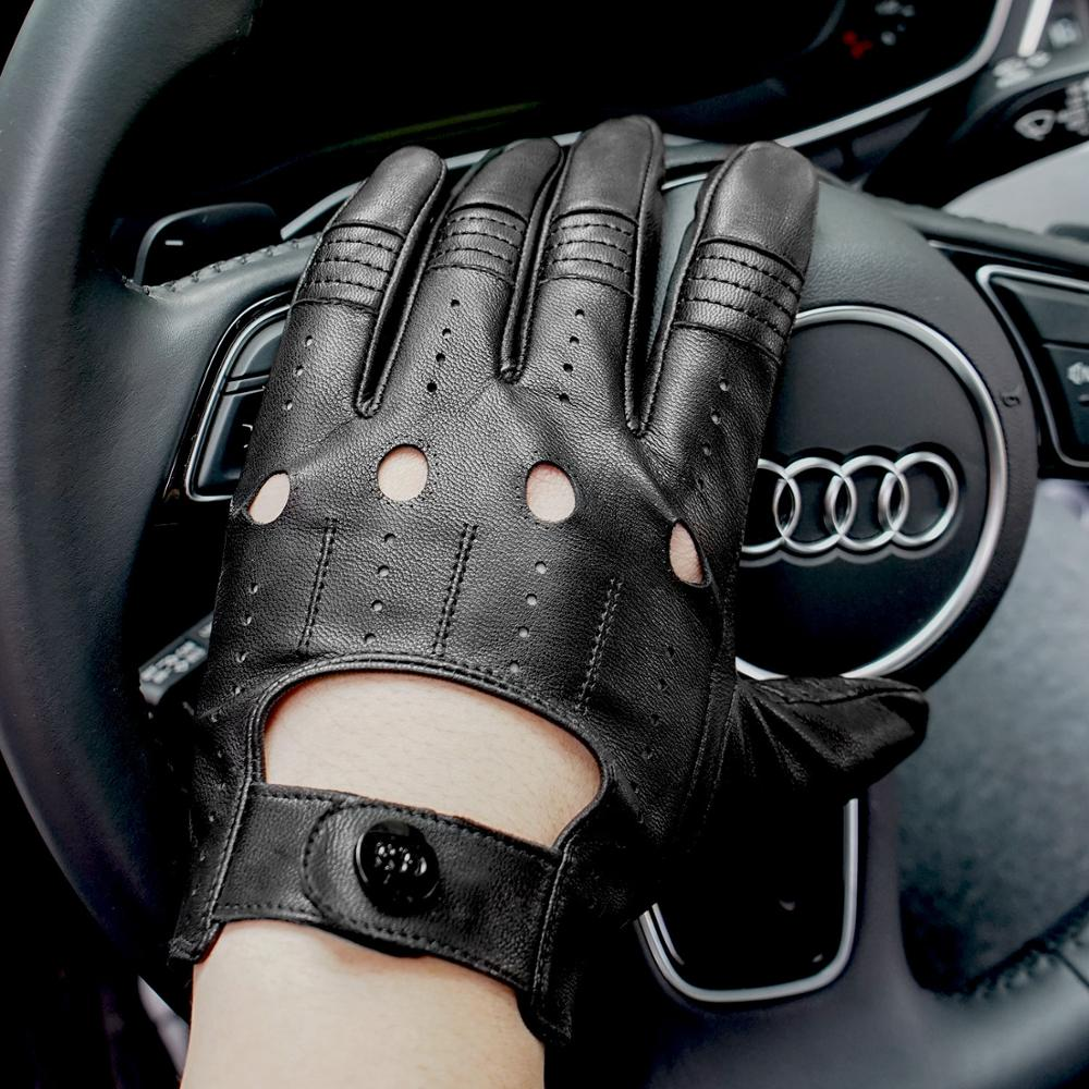 GSG Mens Leather Gloves Mittens Hole Button Breathable Goat Genuine Leather Men Driving Gloves Half Finger Gloves