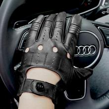 GSG Mens Leather Gloves Mittens Hole Button Breathable Goat