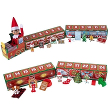 1 Set Xmas Decorations Gifts for Kids Children Cartoon Christmas Elf Paper Train Toys