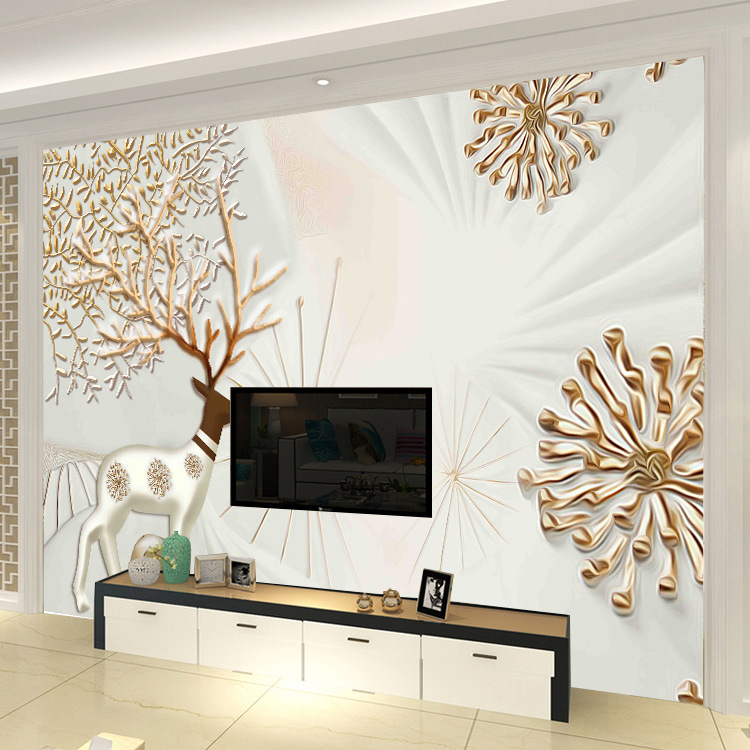 3D TV Backdrop Wallpaper European Style Living Room Bedroom Wallpaper Relief Elk Forest Seamless Large Mural