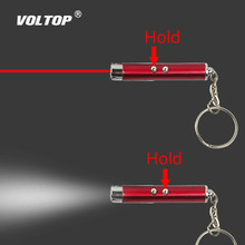цена на 2In1 Laser Pen Pointer Keychain Car Key Ring Steel UV Torch Beam Infrared Mini LED Flashlight Whip Pen (No Battery)