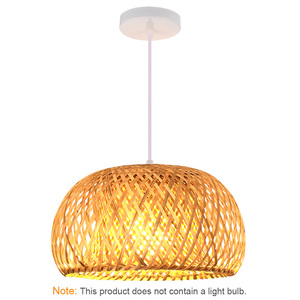 Image 2 - Китайская лампа из ротанга ручной работы, Бамбуковая люстра в стиле ретро для сада, ресторана, спальни, кафе, бара, гостиной