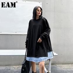 [EAM] Loose Fit Black Denim Stitch Long Sweatshirt New Round Neck Long Sleeve Women Big Size Fashion Spring Autumn 2021 1DC363
