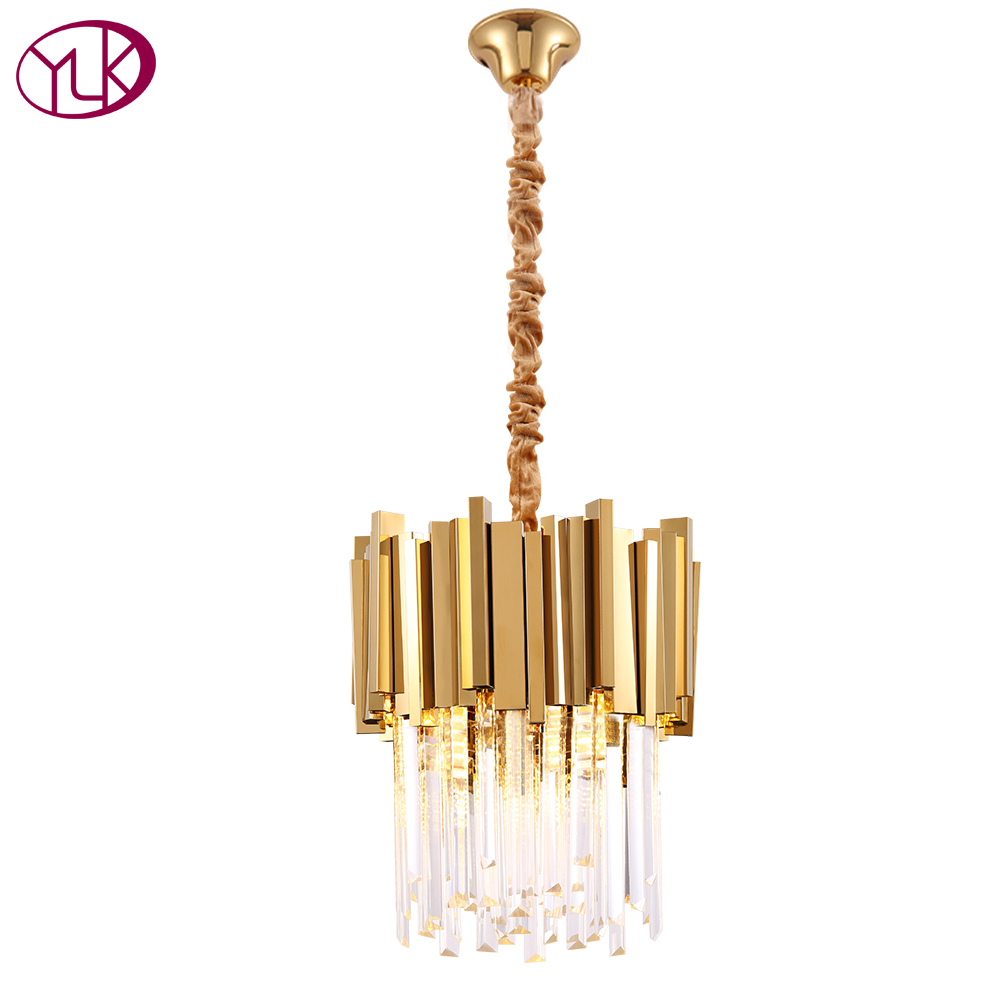 Modern Crystal Chandelier Lighting Dining Room Kitchen Island Bedroom Chain Loft Chandeliers Ceiling Gold/Chrome Light Fixtures