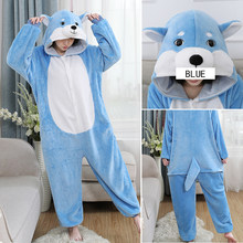 Winter Onesie Women pajamas Flannel Blue one-piece home service cartoon animal toilet version sleepwear clothes pants wholesale(China)