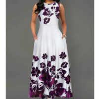 2019 New Summer Women Vintage A-Line Dress Vestidos Tunic Long Sleeveless Floral Print arrival OL Dress Evening Party