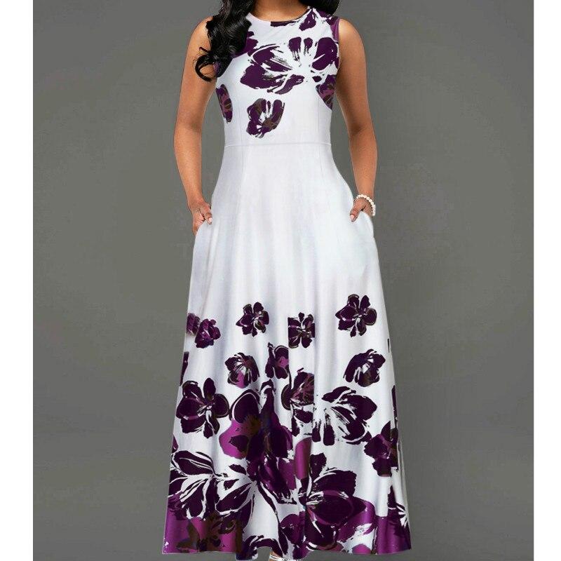 2019 neue Sommer Frauen Vintage A-Line Kleid Vestidos Tunika Lange Ärmelloses Blumen Druck ankunft OL Kleid Abend Party