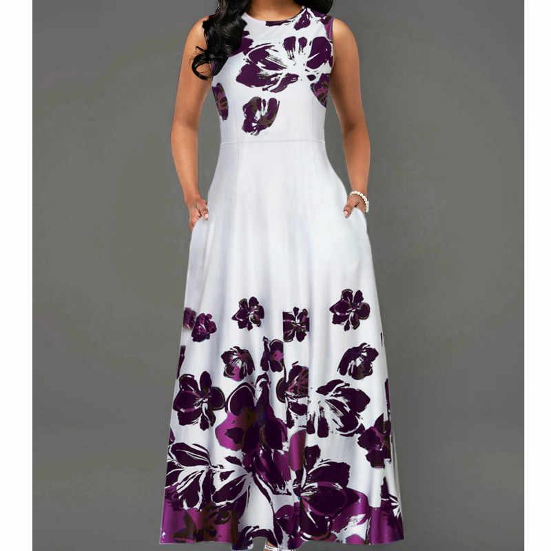 Sin mangas estampado Floral OL vestido de talla grande verano Mujer Vintage Línea A vestido de fiesta de noche Vestidos túnica largo vestido de verano