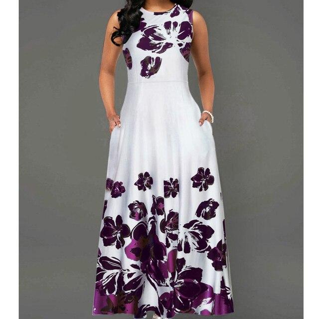 Sleeveless Floral Print OL Dress Boho Style Dresses Woman Clothing