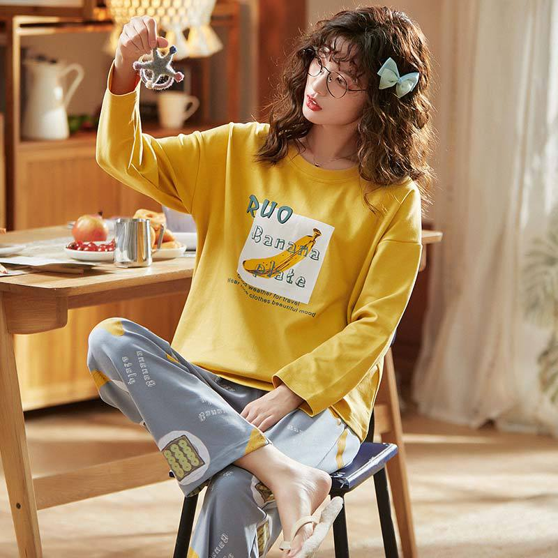 X3930 # Lettered Banana Pullover LZ Long Sleeve Korean-style Sweet Pajamas Tracksuit Piece Series