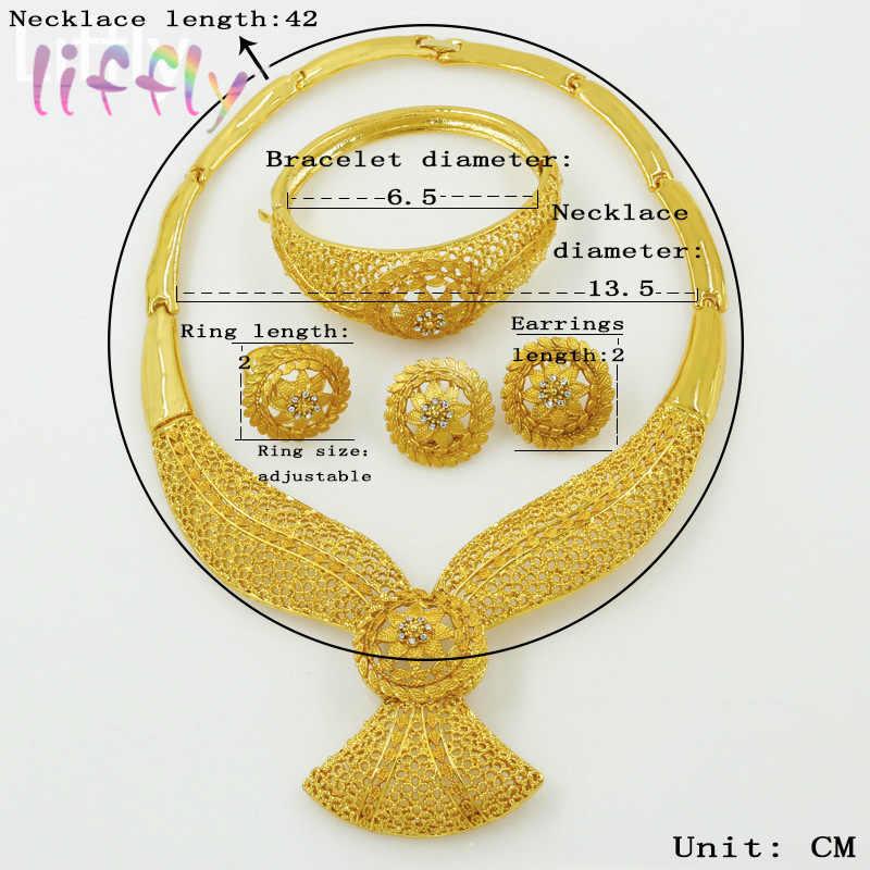 Liffly Dubai Schmuck-Sets Gold Mode Afrika Perlen Schmuck Set Nigeria Hochzeit Geschenke Braut Schmuck Sets