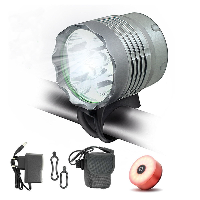 5*T6 LED <font><b>Bicycle</b></font> Front <font><b>Light</b></font> Lantern <font><b>7000</b></font> <font><b>Lumen</b></font> 3 Modes Cycling Head Lamp 8.4V 18650 Battery Bike Headlight + Charger image