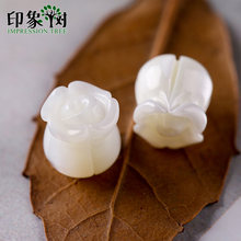 1pcs 8x8mm Pure White Natural Shell Carven 3D Rose Charms Bead Shell Carven Partten Shell Beads Earring DIY Jewelry Making 19027(China)