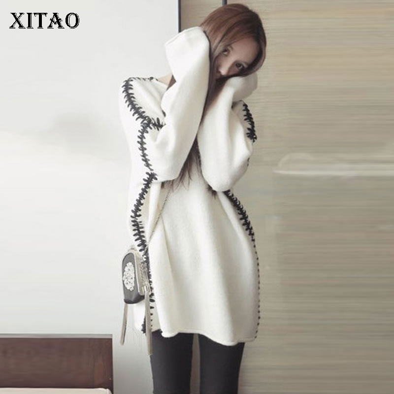 XITAO Small Fresh Knitted Sweater Straight Patchwork Pullover Slim 2019 Autumn Casual O Neck Elegant Loose Sweater  WQR1556