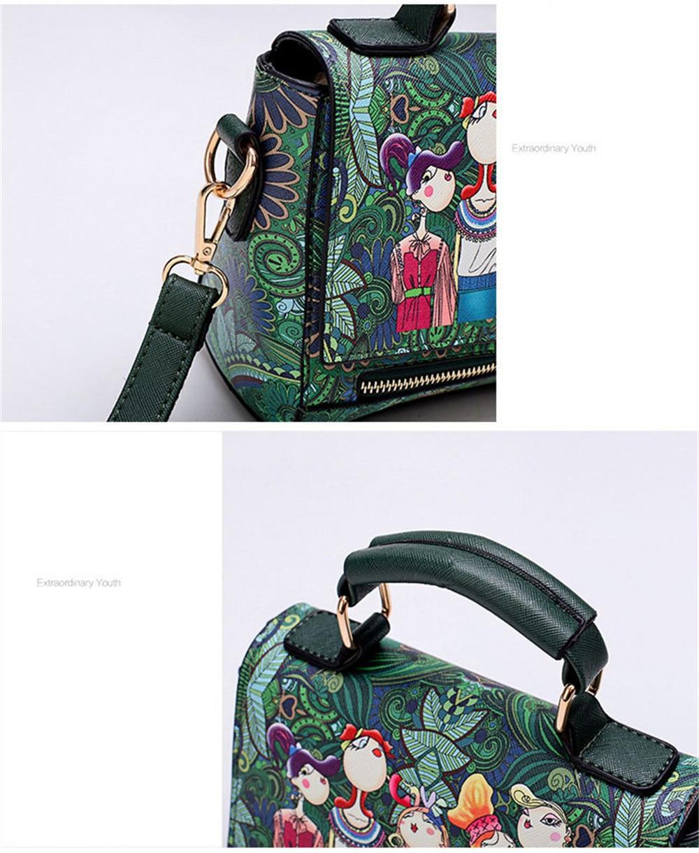 Fashion Women PU Leather Printing Messenger Bag Ladies Handbag Small Shoulder Bags