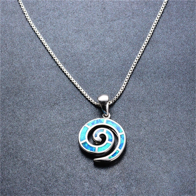 Fashion Lady Silver snails pink Opal Pendant Necklace Wedding Jewelry Gift