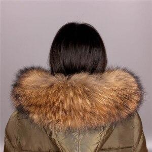 Image 2 - Cuello de piel de mapache Real para mujer, piel Natural gris, Collar, chal de piel auténtica, cuello de mapache, piel