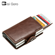 BISI GORO 2021 Smart Wallet Double Boxes Card Holder High Quality Metal Box RFID Blocking Anti-theft PU Leather Travel Money Bag
