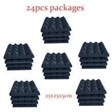 24 pces 250x250x50mm estúdio acústico espuma à prova de som 16 pirâmide absorção tratamento painel telha proteção à prova de som esponja