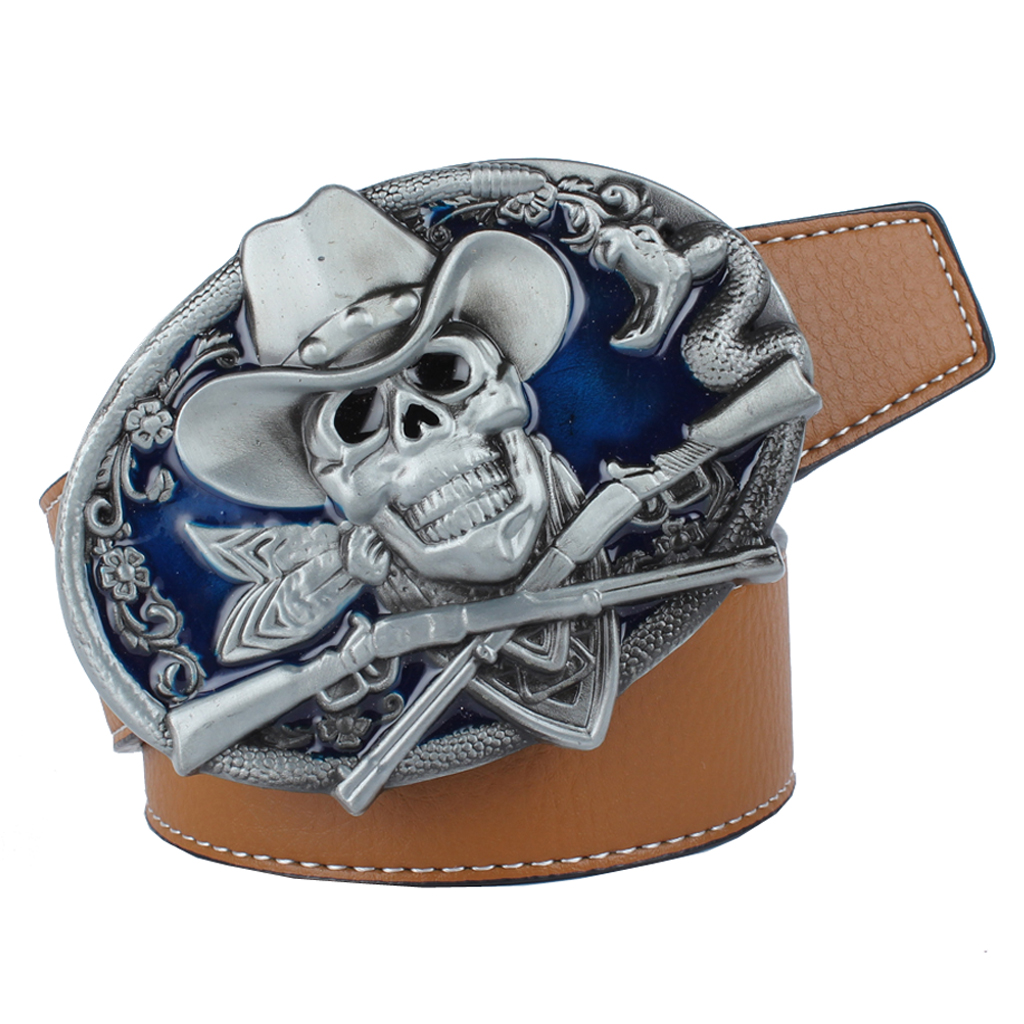 Adjustable Men's PU Leather Belt With Snake Pirate Skull Buckle Belt 125cmx3.8cm