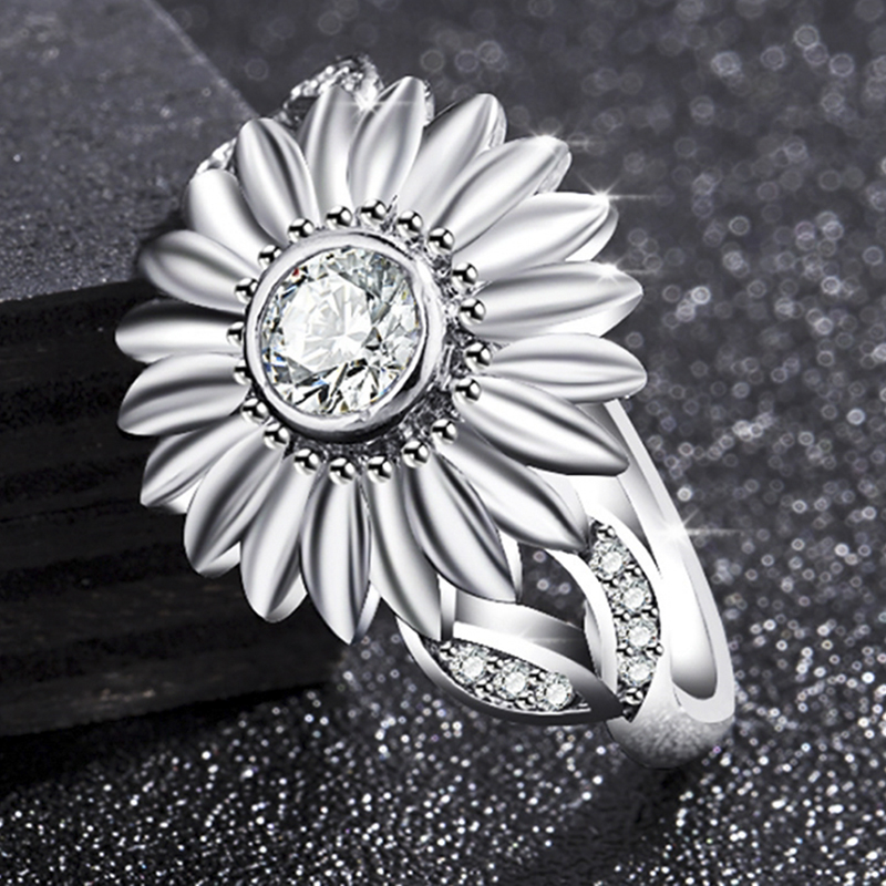 Stone Ring Jewelry Bague Femme Silver Color Cute Gold Sunflower Crystal Wedding Rings for Women Drop Ship