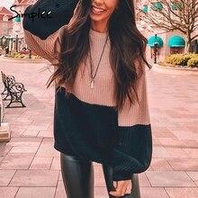 Simplee Vintage patchwork dzianiny damskie swetry Casual jednolity kolor, długi sweter z rękawem kobieta jesień zima luźny sweter 2019