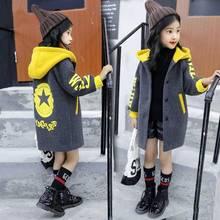 Детская одежда куртка для девочек коллекция года, весенне-осеннее шерстяное пальто в Корейском стиле для девочек хлопковый топ с длинным разрезом