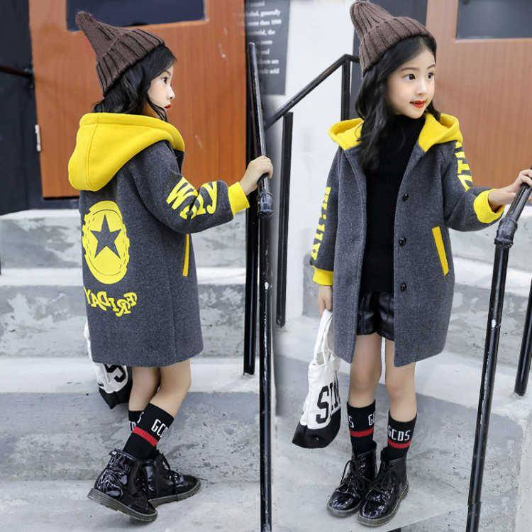 Children's Clothing Girls Jacket 2019 Spring And Autumn Korean Girls Woolen Coat In The Long Section Plus Cotton Top