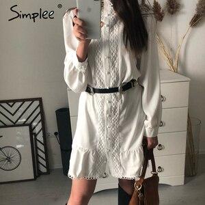 Image 2 - Simplee Streetwear 여성 흰색 드레스 긴 소매 프릴 중공 아가씨 여름 드레스 봄 기하학 랜턴 포켓 미니 드레스