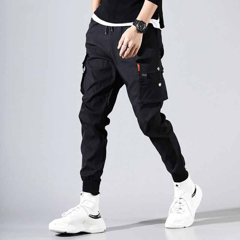 Cargo Pants Men Solid Color Black Loose Casual Jogger Pocket Elastic Waist Ankle Length Trousers