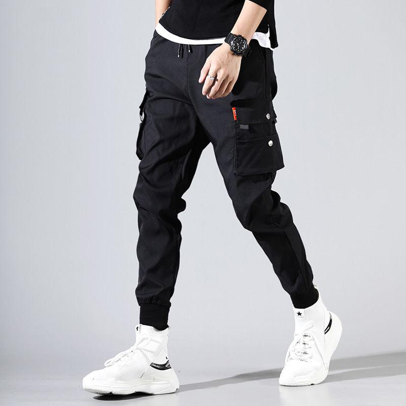 Cargo Pants Men Solid Color Black Loose Casual Jogger Pocket Elastic Waist Ankle Length Trousers
