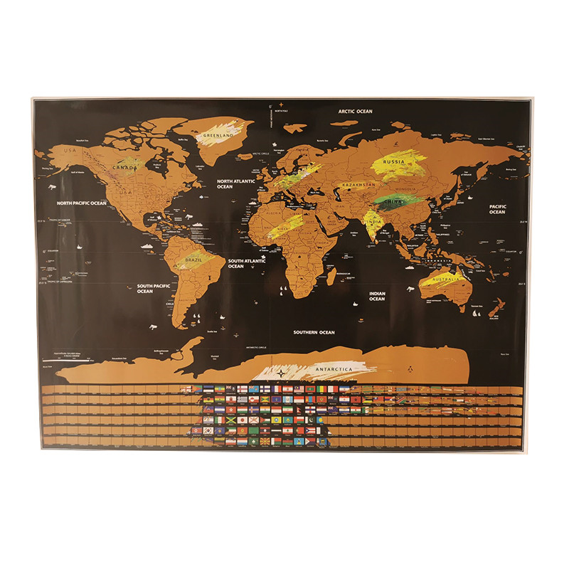 10 Pcs Scratch Map 82*59cm Home Decoration Wall Stickers Toy World Map National Flags Waterproof Paper Without Scratch Map