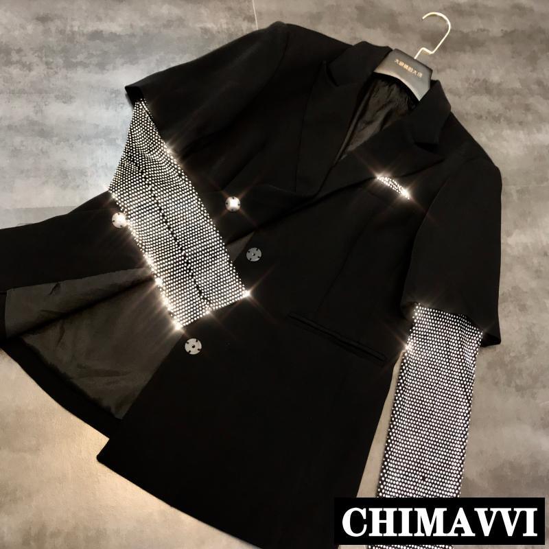 2019 New Autumn Rhinestone Mesh Sleeve Shiny Stitching Black Suit Jacket Women Fashion Hot Drill Blazer Coat Female Outwear