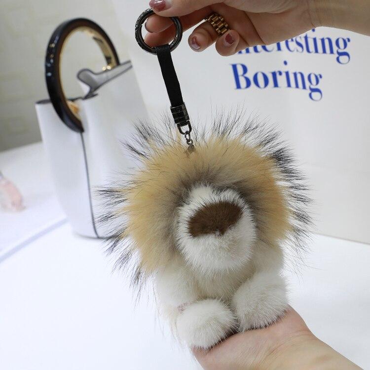 Mink fur lion doll pendant bag pendant golden retriever Lion doll furry pendant