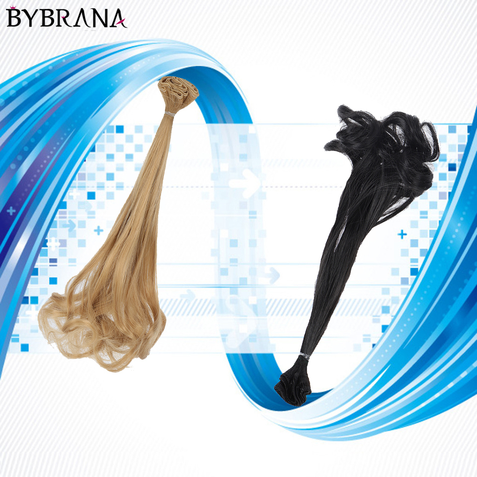 Bybrana For BJD SD 30cm Doll Hair Black Blown Khaki DIY Wigs Handmade Long Curly Doll Wigs Tress Doll Accessories Free Shipping