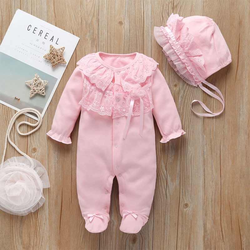 2pcs เด็กสาว Rompers ชุดหมวกเด็กแรกเกิดเสื้อผ้าชุดนอนฝ้ายยาว Sheeve เด็กทารกเสื้อผ้าชุด