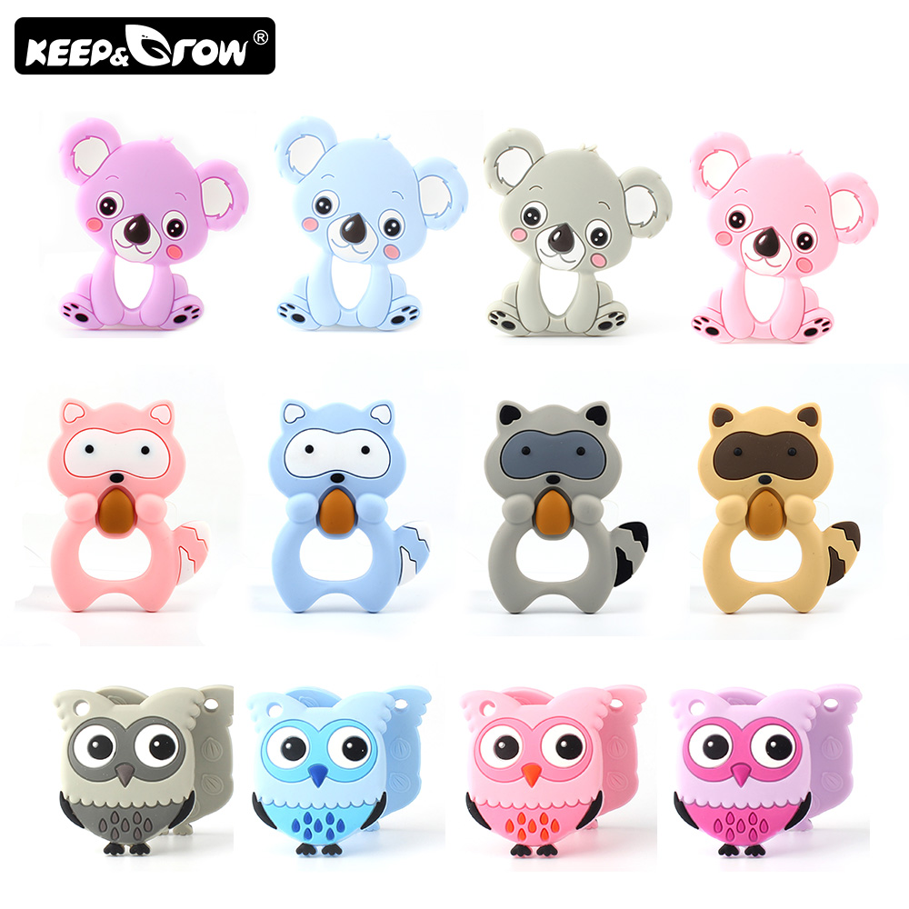 Keep&Grow 1pc Animals Baby Teethers Koala Raccoon Owl Food Grade Silicone Teether DIY Teething Necklace Toy Accessories BPA Free