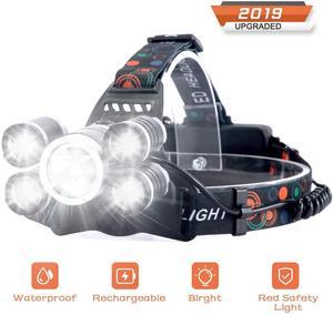 Lanterna de cabeça recarregável, 10000 lúmens, 5 leds, usb, 4 modos ipx4, à prova d'água melhores luzes de cabeça