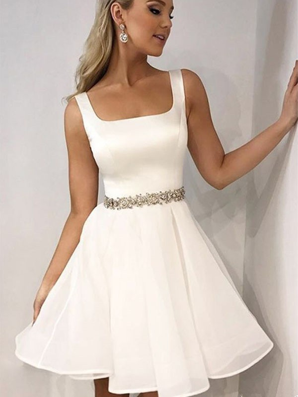 2020 Elegant   Cocktail     Dress   A-Line/Princess Sleeveless Straps Chiffon Beading Short/Mini   Dresses   for Party