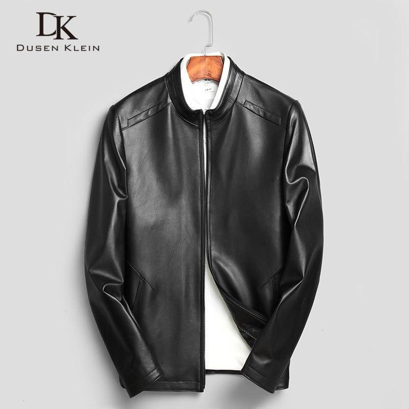 DK Men Geunine Leather Jackets Real Sheepskin Male Leather Coat Black Slim Casual  New Soft Leather Jacket For Men N703