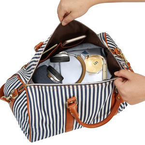 Image 4 - Modoker Large Black White Striped Women Travel Bag Organizer Casual Outdoor Teenager Luggage Bag Duffel Bag with Zipper Package