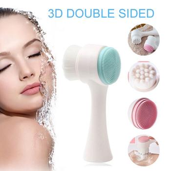 Środek oczyszczający do twarzy pędzel miękki łagodny włókno przenośny dwustronnie silikonowy płyn do demakijażu szczotka do mycia twarzy masaż mycie szczoteczka do skóry tanie i dobre opinie LISM Unisex Brak CHINA Czyszczenia twarzy Face Cleanser Pielęgnacja twarzy