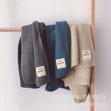 Однотонный Белый Стандартный детский вязаный шарф на осень и зиму, простой детский шерстяной шарф
