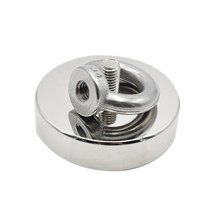 (Pull Out Force 75Kg)M8 D60Mm Strong Powerful Round Neodymium Magnet Hook Salvage Magnet Sea Fishing Equipments Holder Pulling M(China)